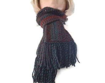 Chunky Crochet Mens & Womens Fringed Scarf in Browns and Teal. Fashion Accessories, Neck warmer, Winter Sports.