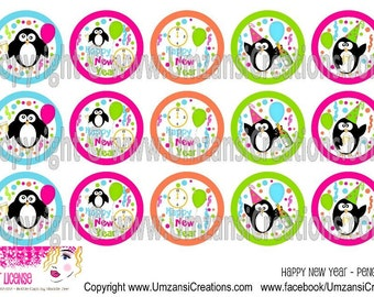 "15 New Years Penguins Digital Download for 1"" Bottle Caps (4x6)"