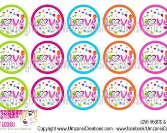 "15 Love Hearts & Birds Digital Download for 1"" Bottle Caps (4x6)"