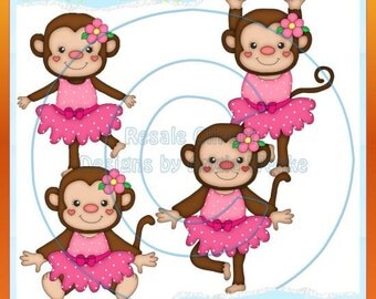 Dancing Monkeys Pink Clipart (Digital Download)