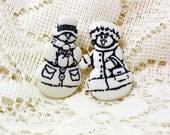 Snowman Button Earrings, Button Jewelry, Snowman Earrings, Winter Jewelry