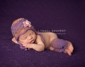 Baby Leggings Set // Newborn Photography Prop // Baby Girl Hat // Scalloped Flapper and Legwarmers // Purple and Orange