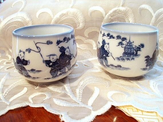 Senchawan Imari Blue White Japanese Tea Cup Set Hirado