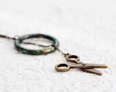 Scissors Necklace Green Rustic Ring Antiqued Brass Scissors Lariat Necklace - N220