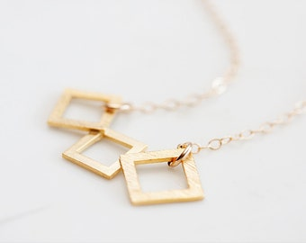 Triple Squares Necklace Gold Filled Chain Geometric Necklace Square Charm Gold Geometry Jewelry - N257