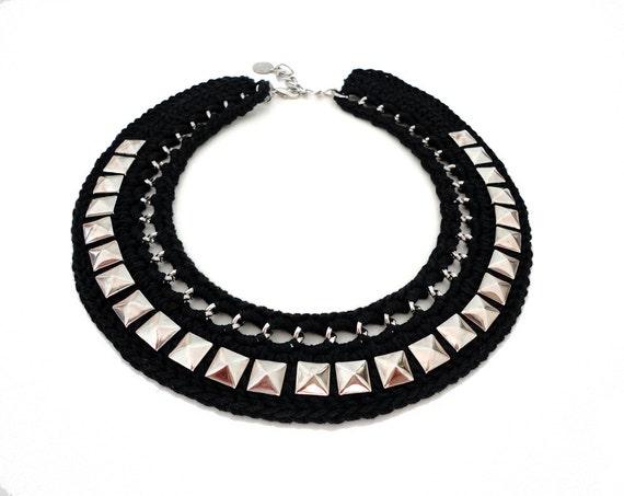 Black Crochet Studded Collar Bib Necklace