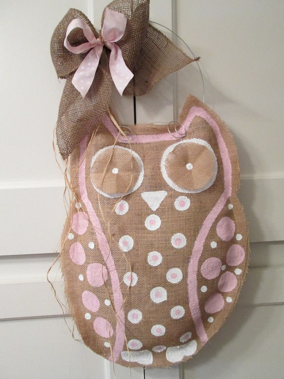 Items Similar To Owl Burlap Door Hanger Door Decoration Pink And White Baby Girl On Etsy