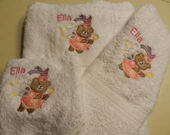 Princess Fairy  Bear 3 Piece Embroidered Bath Towel Set - Personalized