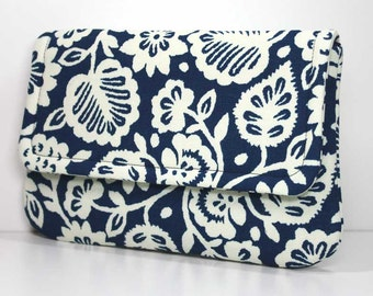 Clutch - Cream Flowers and Leaves on Navy Blue - Ready to Ship