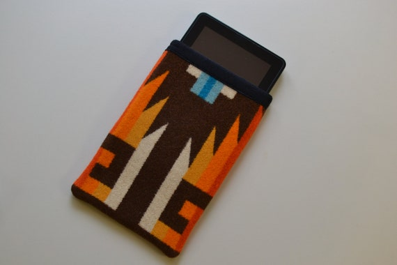 Kindle Sleeve Kindle Cover Kindle Case - Wool Native American print fabric - TAILORED to YOUR DEVICE - Wool electronics cases