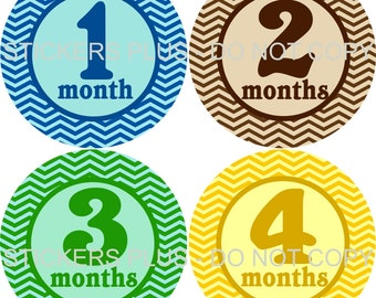 Baby Month Stickers Monthly Baby Stickers Milestone Stickers Baby Bodysuit Stickers Monthly Stickers Plus FREE Gift Boy Chevron Bright