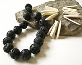 Lava Rock Beads 16mm and Coconut Shard Beads