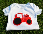 Tractor Bodysuit- Can make for girls and without bow for boys