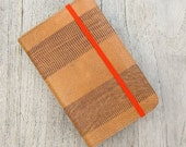 cover for  Moleskine notebook / journal POCKET size in natural colored vegetable tanned calfskin and turquoise suede lining