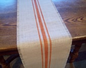 Burlap Table Runner 10 x 96 with Hand Painted Orange Stripes - Other Colors Available - Grain Sack Table Runner - Fall Table Runner