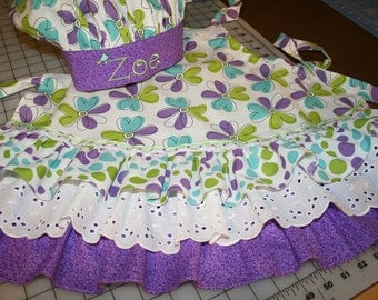 Girl's Apron and matching Chef's Hat - Personalized Name - Sizes 2 - 10 - Birthday, Baking, Christmas, Cooking, Ruffles, Adjustable