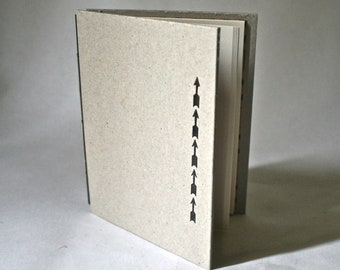 Handmade Hardcover Blank Book with Black Arrows for Stocking Stuffer Writing Sketching