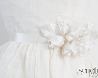 APRIL - Floral Bridal Sash in Ivory, with Rhinestone Details