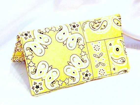 Clearance, Checkbook Cover - Yellow Fabric Checkbook Cover, or Coupon Holder, Organizer -  Bandana Print, Wallet