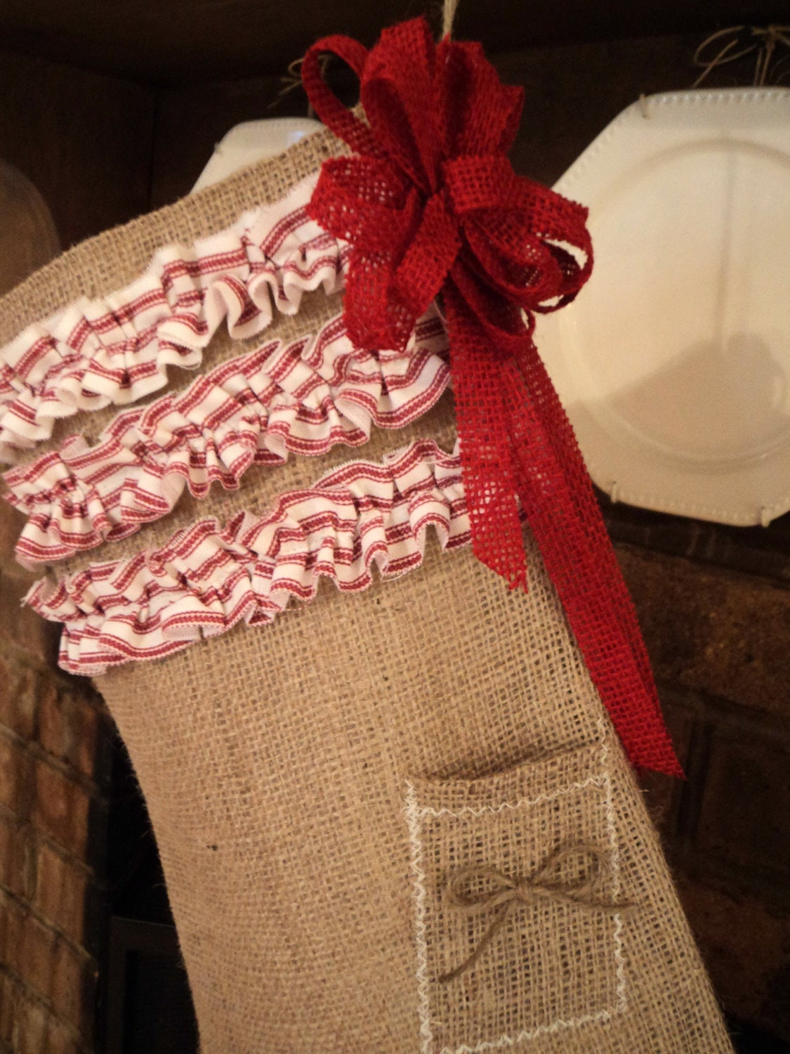 Items similar to burlap stocking with challkboard name tag on etsy - Hemp rope craft ideas an authentic rustic feel ...