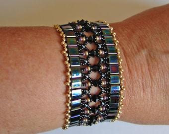 Woven black tila bead and crystal bracelet