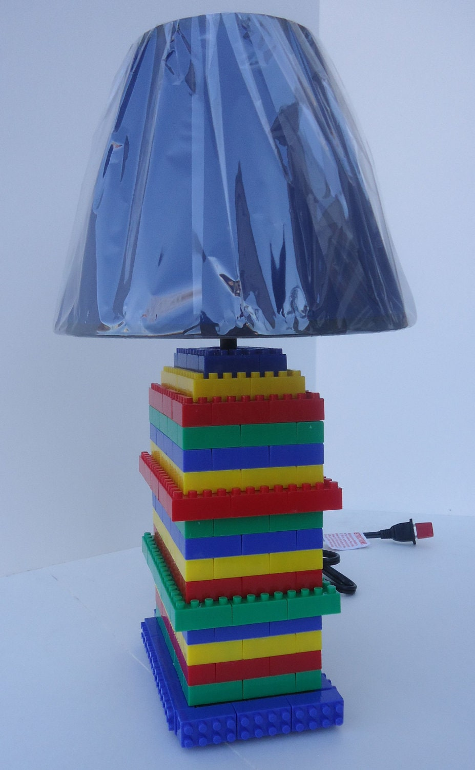 Lego Inspired Lamp With Shade Great Lighting For Bedroom