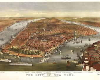 1870 Panoramic View of New York City
