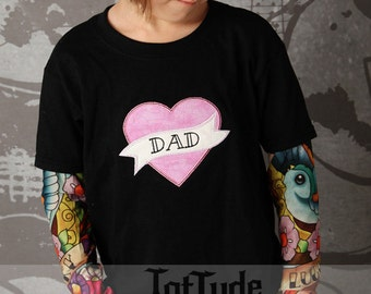 Girls Tattoo Sleeve T shirt with Mom or Dad pink heart applique