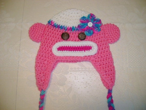 READY TO SHIP - 6 to 12 Month - Pink Sock Monkey Crocheted Hat
