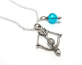 Bow and Arrow Archer's Necklace - Silver Sagittarius Jewelry - Tribal Necklace - Turquoise Blue Crystal Accent - Artemis Accessory