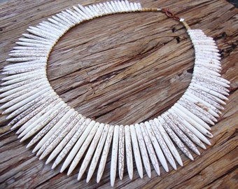 CHUNKY Natural white howlite spike TRIBAL STATEMENT  bib necklace unique conversation starter