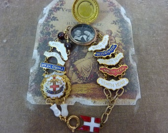 EVER FAITHFUL  vintage assemblage antique Victorian locket bracelet