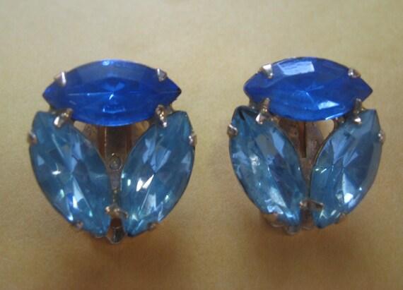 Two Tone Blue Rhinestone Clip on Earrings
