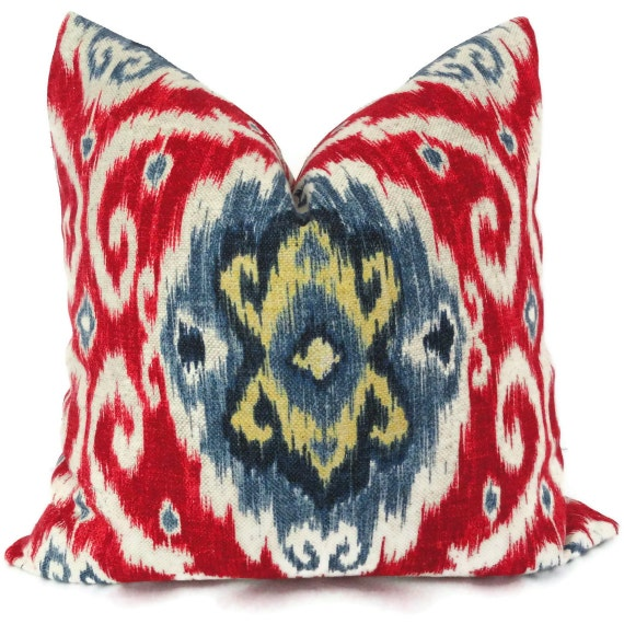 Ikat Throw Pillows Etsy : Iman Red and Blue Ikat Decorative Pillow Cover 18x18 20x20 or