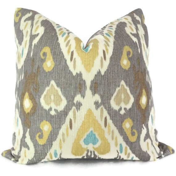 Yellow and Gray Ikat Decorative Pillow Cover Square by PopOColor