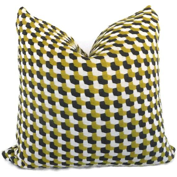 Schumacher Crosstown Weave In Citron Decorative Pillow Cover