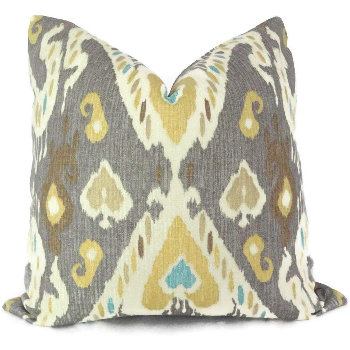 Throw Pillows Groupon : Yellow and Gray Ikat Decorative Pillow Cover Square by PopOColor