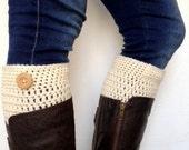 Crochet Boot Cuffs in Creamy White Pure Wool Fall Winter Accessory