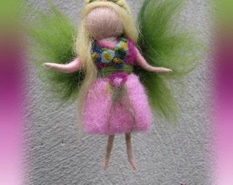 Elina - Needle Felted Wool  fairy girl , Flower fairy, Waldorf inspired fairy doll, wool