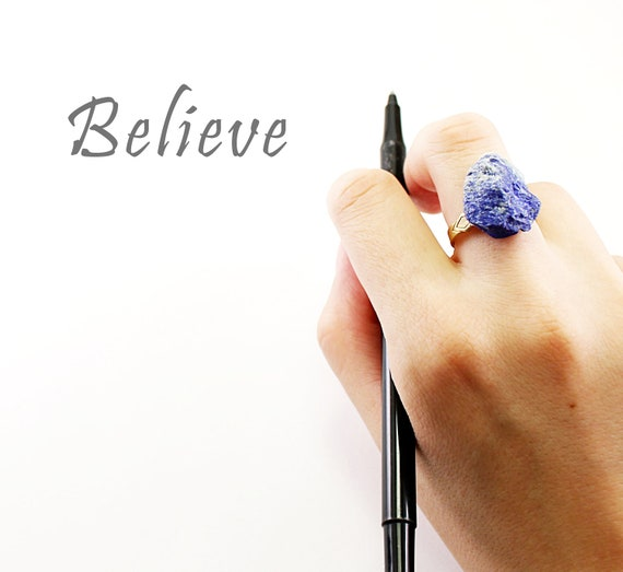 Rough stone ring: lapis lazuli ring, blue adjustable ring raw natural navy brass handmade jewelry by NatureLook