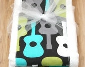 Michael Miller Groovy Guitar Set of 2 Burp Cloths