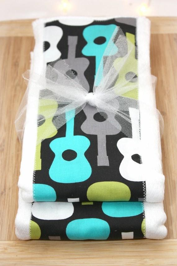 Michael Miller Groovy Guitar Set of 2 Burp Cloths