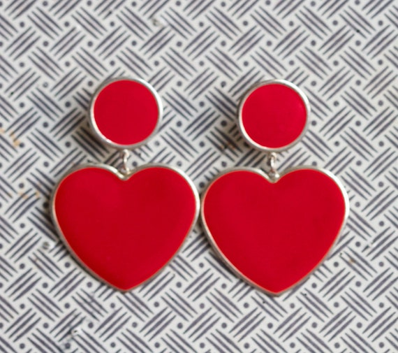 Scarlet Hearts - Red and Gold Eighties Dangle Earrings