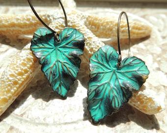 1182-Verdigris leaf earrings, dangle green earrings, brass leaf earrings,