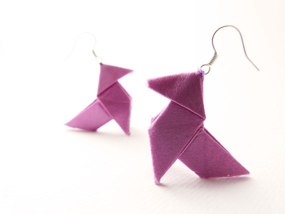 Origami earrings Lilac mauve silk OOAK by Jye, Hand-made in France (Reserved For Kevin)
