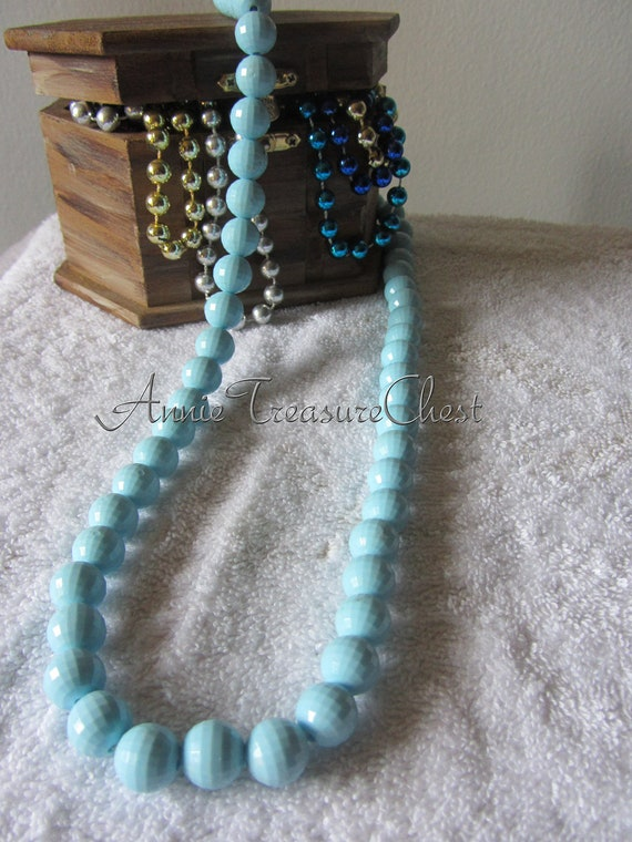 NEW MARKDOWN - Baby Blue Vintage Faceted Necklace