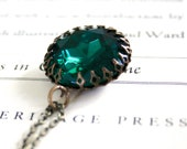 Extra Large Vintage Emerald Glass Jewel in Oxidized Brass, Kings Crown Setting, Jewel Tone,  Long Necklace, Estate Style
