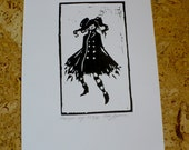 Girl with the striped tights linocut print - black, A4