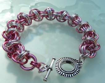 Breast Cancer Awareness Silver & Pink Chaimaille Bracelet with Sunburst Toggle Clasp