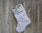 Religious Christmas Stocking - Silver Crosses - Christian - White - Gray - Lined - Traditional